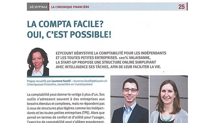 Photo article du magazine Valais Valeur Ajoutée sur EZYcount